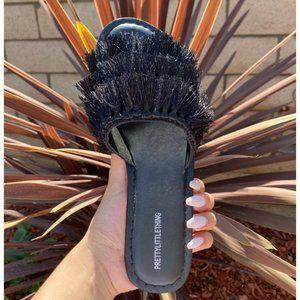 Pretty Little Thing Black Fringe Sandal size 7